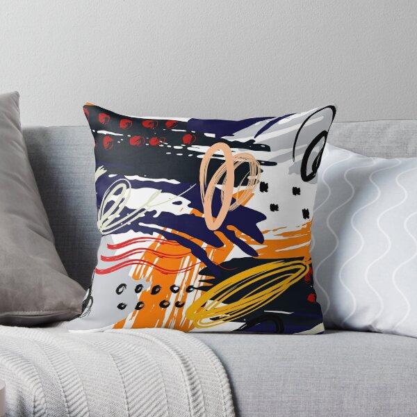 Navy Blue Orange Black Gray and White Abstract Circular Art Design Throw Pillow