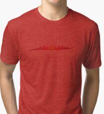 Melbourne skyline in red Tri-blend T-Shirt