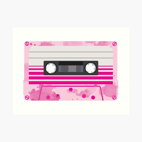 Pink Cassette Tape with Pink Watercolor Paint Splashes Design Art Print