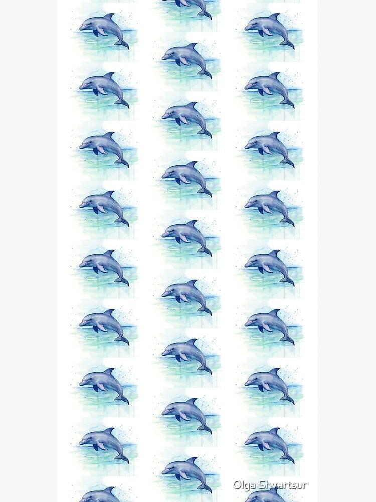 Dolphin Watercolor by olga-shvartsur