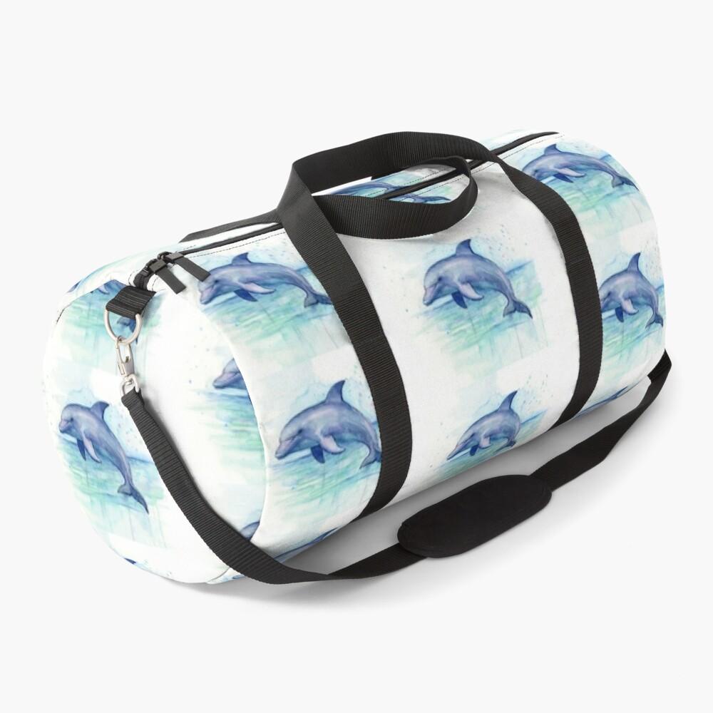 Dolphin Watercolor Duffle Bag