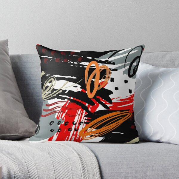Black Red Gray and White Abstract Circular Art Design Throw Pillow