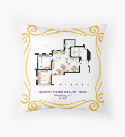 """Apartment of Chandler & Joey from """"FRIENDS"""" Throw Pillow"""