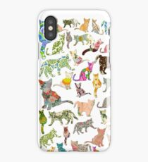 a lot of cats in vintage wallpaper iPhone Case/Skin