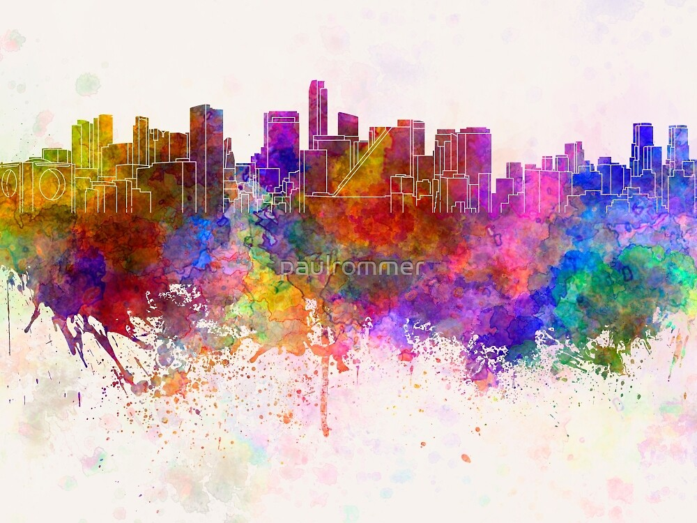 Mexico City skyline in watercolor background by paulrommer