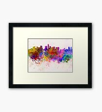 Mexico City skyline in watercolor background Framed Print