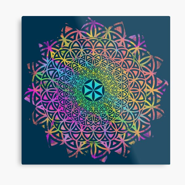 Flower of Life, Hippie Mandala Metal Print