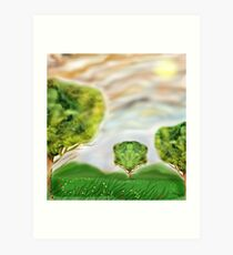 Three crazily similar Trees in a Meadow Art Print