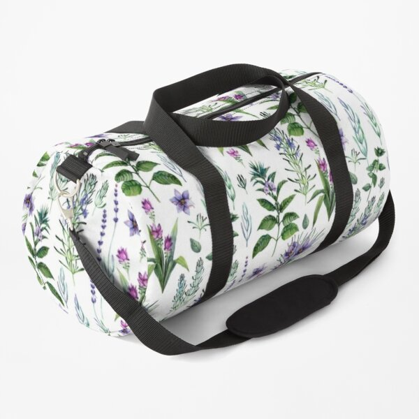 Watercolor botanical collection of herbs and spices Duffle Bag