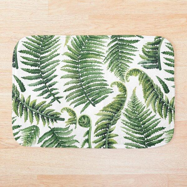 Watercolor fern leaves Bath Mat