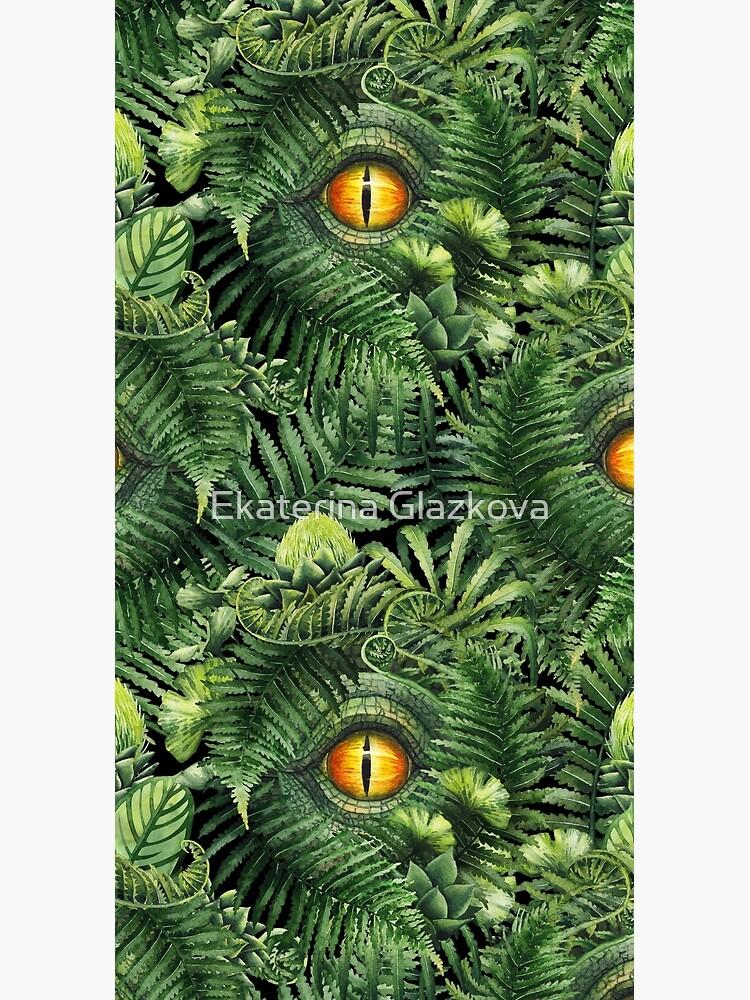 Watercolor dinosaur eye and prehistoric plants by Glazkova