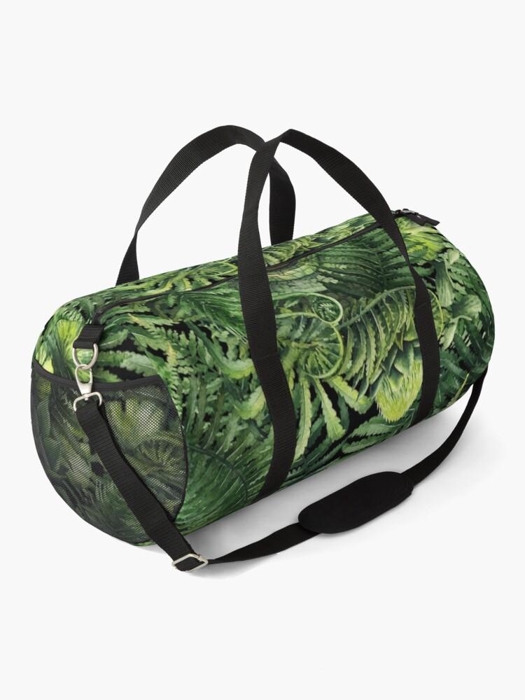 Alternate view of Watercolor dinosaur eye and prehistoric plants Duffle Bag