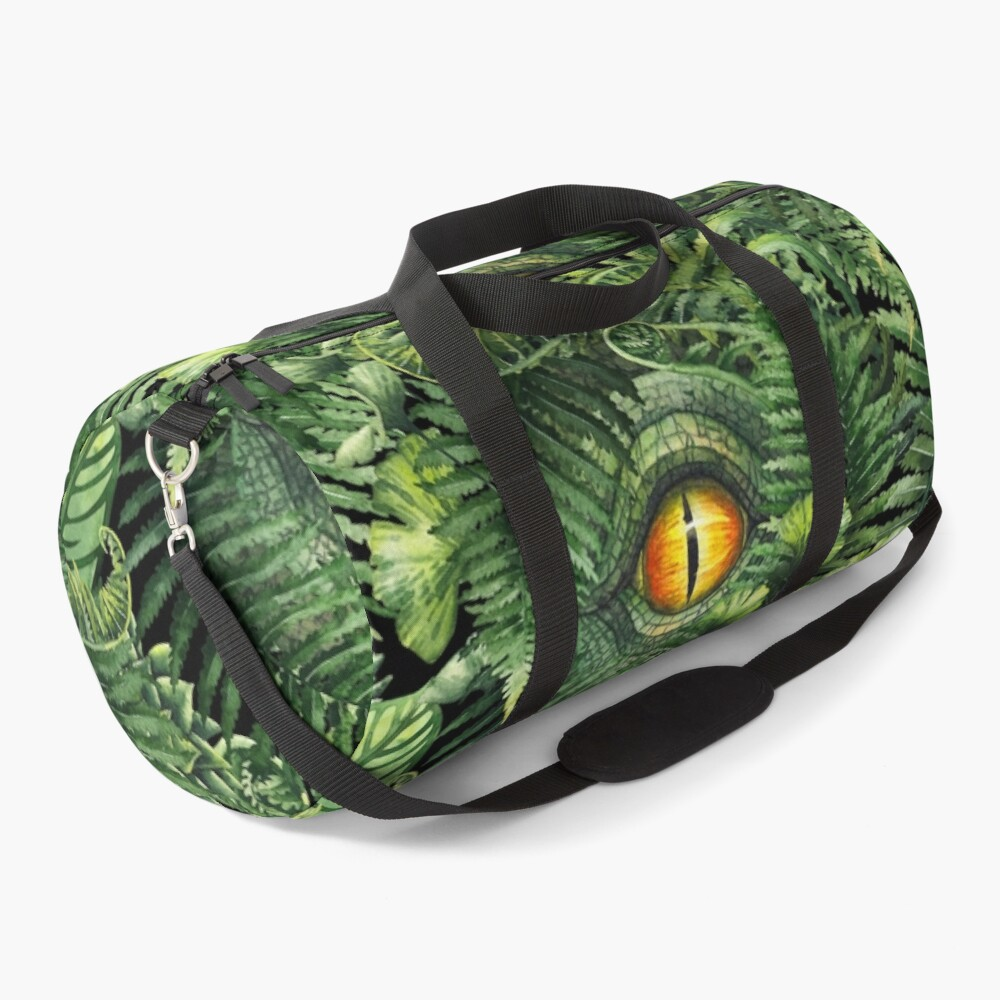 Watercolor dinosaur eye and prehistoric plants Duffle Bag