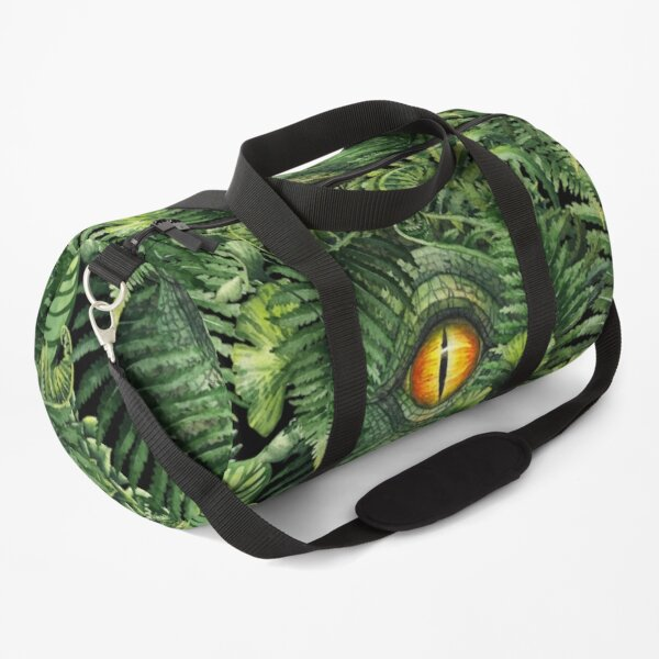 Watercolor dinosaur eye and prehistoric plants Duffle Bag