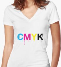 CMYK 6 Women's Fitted V-Neck T-Shirt