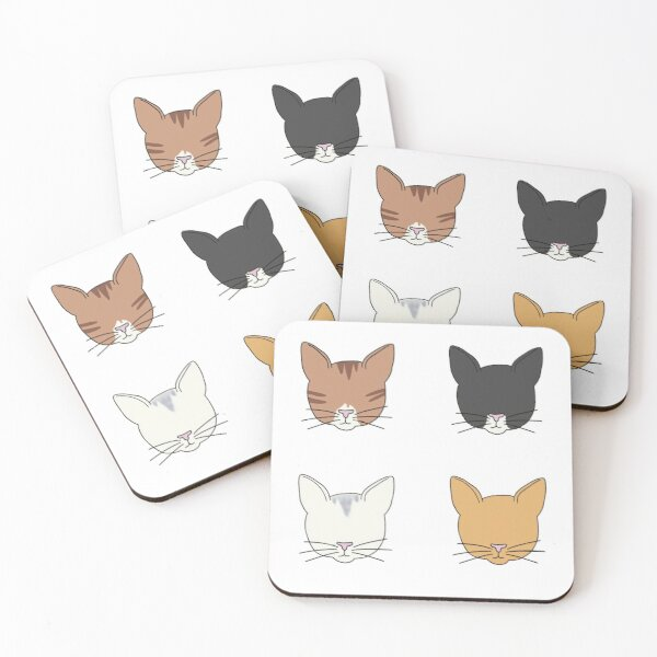 Four Cats! Tabby cat, Tuxedo Cat, Ginger Cat & White Cat Coasters (Set of 4)
