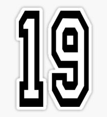 19, TEAM SPORTS, NUMBER 19, NINETEEN, NINETEENTH, Competition,  Sticker
