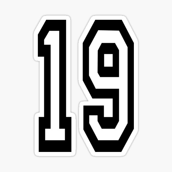 NUMBER 19. TEAM SPORTS, 19th, NINETEEN, NINETEENTH, Competition. Sticker