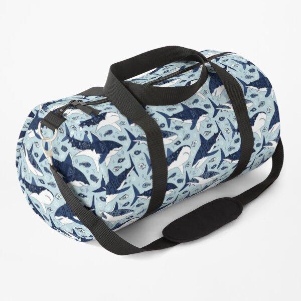 Sharks on Pale Blue Duffle Bag