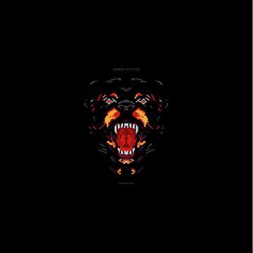 Pixelated Rottweiler by meridaone