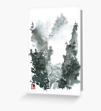 Misty Valley Traditional Chinese Landscape Greeting Card