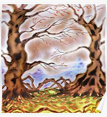 Two old trees flanking Mountains in the distance Poster