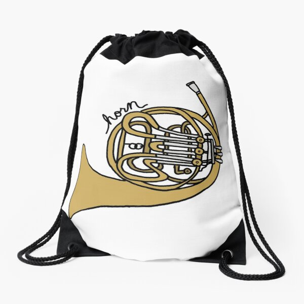 Drawstring Backpack Golden French Horn Rucksack