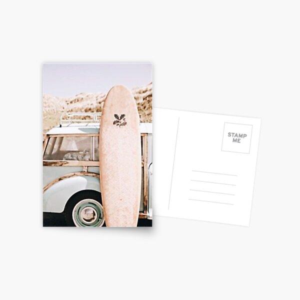 Surfboard in front of vintage car Postcard