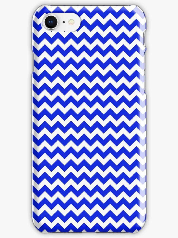 Bright Blue and White Chevron by pjwuebker