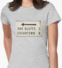 Oak Bluffs Edgartown Road Sign Martha's Vineyard Womens Fitted T-Shirt