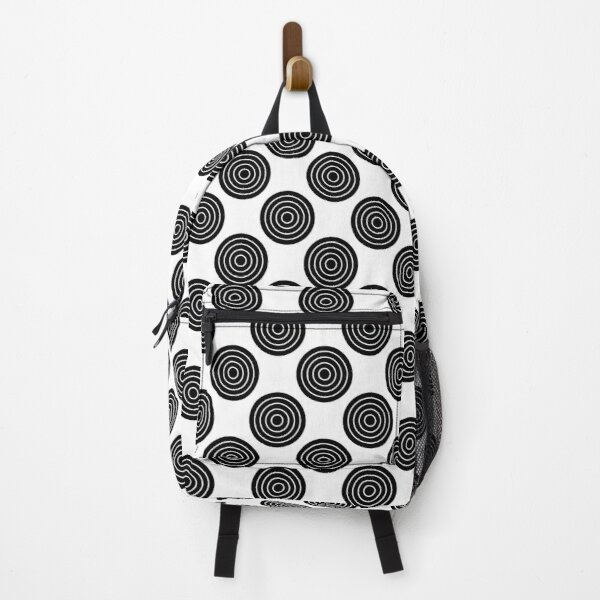 Black N White Simple Circle Pattern Mix And Match Backpack