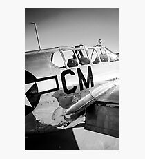 B/W P51C Mustang WWII Fighter Plane Photographic Print