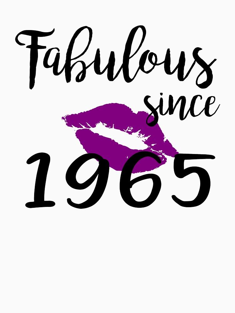 Fabulous Since 1965 Glam Kiss Birthday Women Glamour Lips Purple Lipstick Lipsing Gift by clothesy7