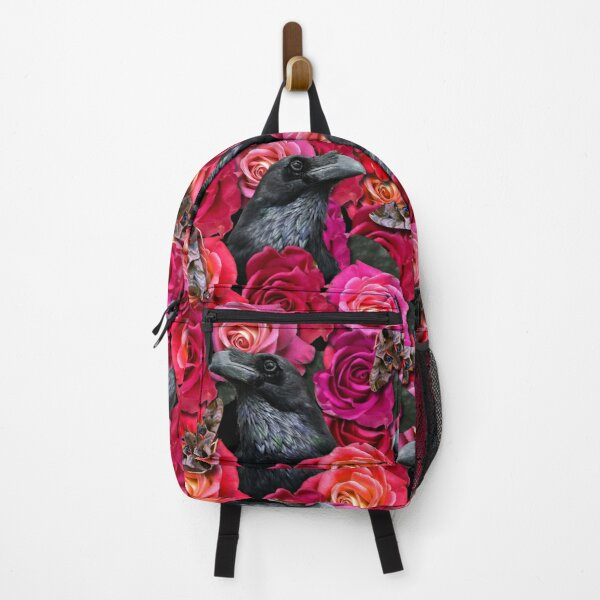 Raven Evermore with Roses and Hawkmoths Gothic Pattern by Moose Disco Backpack