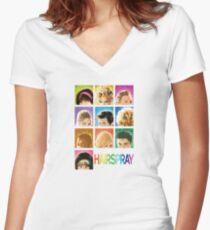 Haarspray Tailliertes T-Shirt mit V-Ausschnitt