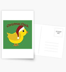 Cute  Chick Wearing a Christmas Santa Hat Postcards