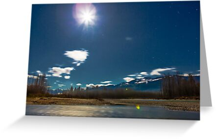 By the Light of the Full Moon Over the Wallace and Skykomish Rivers and Haystack Mountain by Jim Stiles