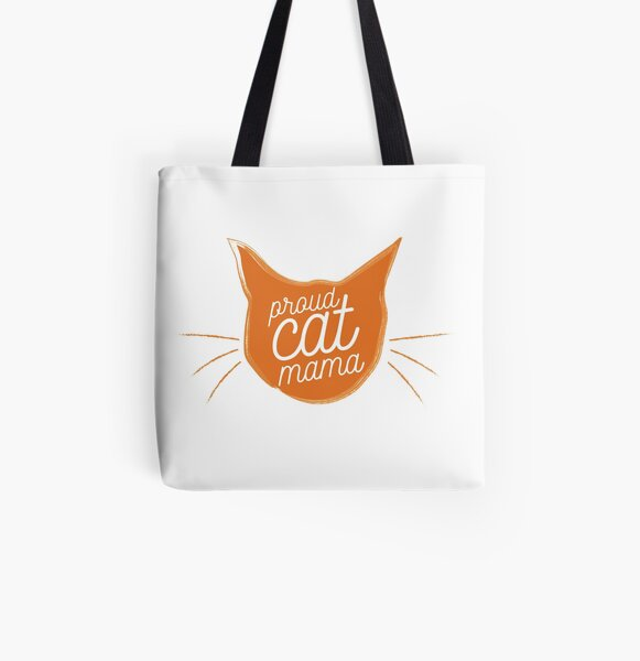 Proud Cat Mama - Now in Bright Tabby Orange! Awesome Gift! All Over Print Tote Bag