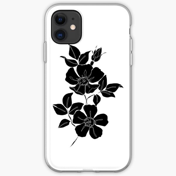 Botanical illustration - Rose silhouette iPhone Soft Case