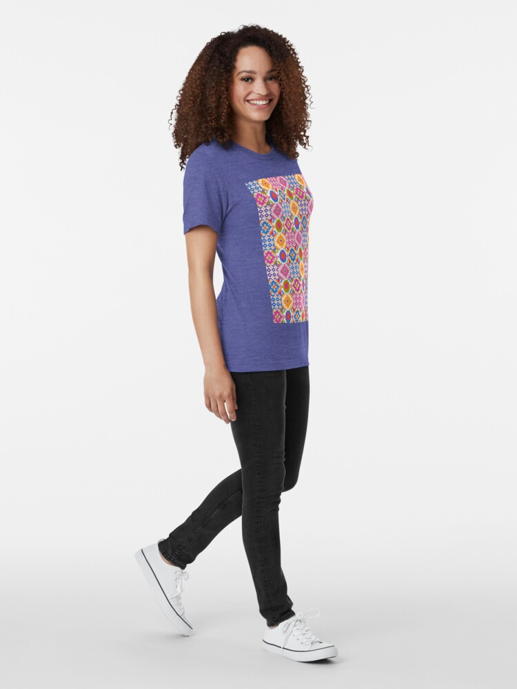 Alternate view of Decorative Ikat Pattern Tri-blend T-Shirt