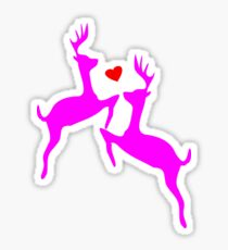 ۞»♥Adorable Jumping Deer Couple Clothing & Stickers♥«۞ Sticker