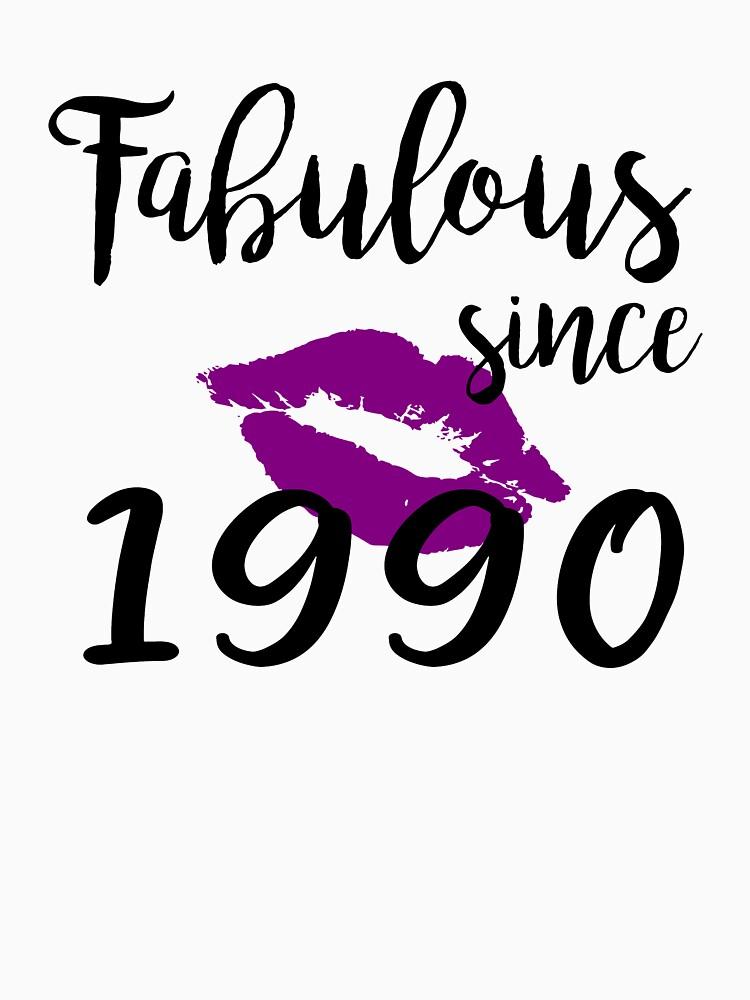 Fabulous Since 1990 Glam Kiss Birthday Women Glamour Lips Purple Lipstick Lipsing Gift by clothesy7