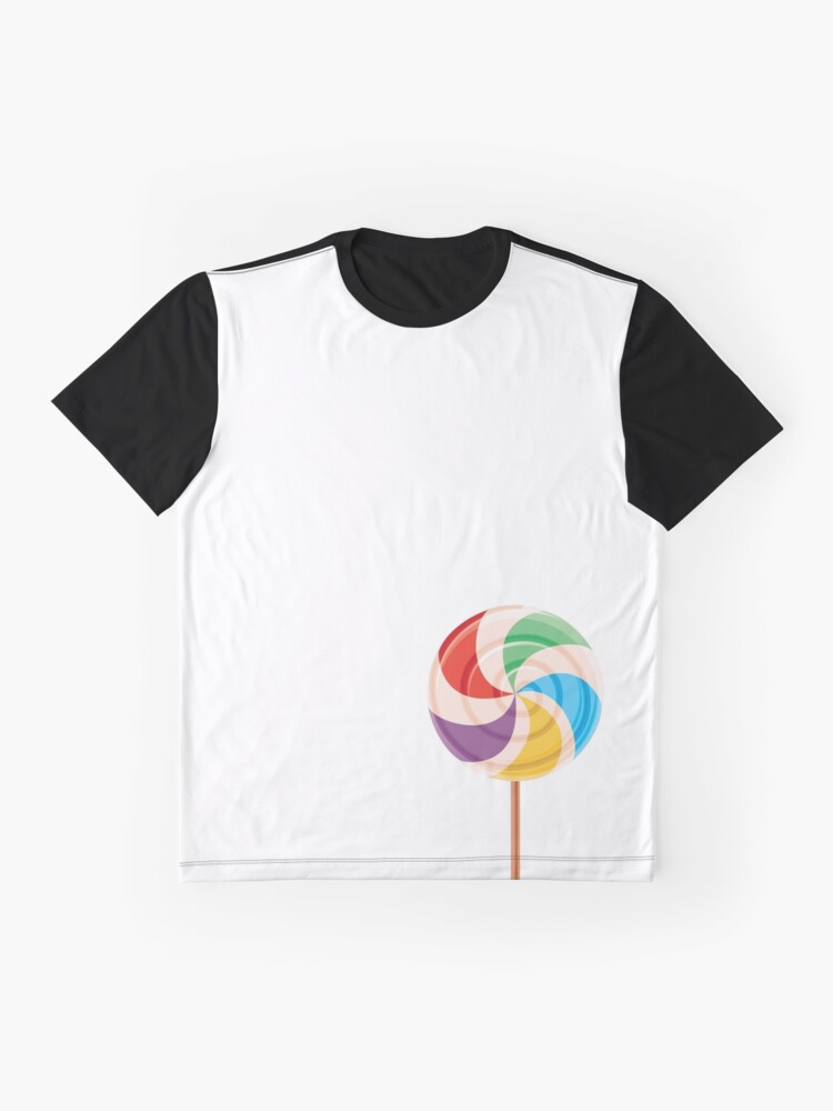 Alternate view of Colorful Lollypop on White Graphic T-Shirt
