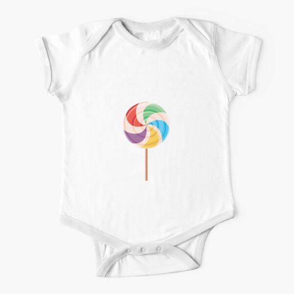 Colorful Lollypop on White Short Sleeve Baby One-Piece
