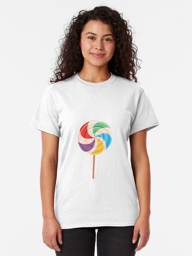 Alternate view of Colorful Lollypop on White Classic T-Shirt