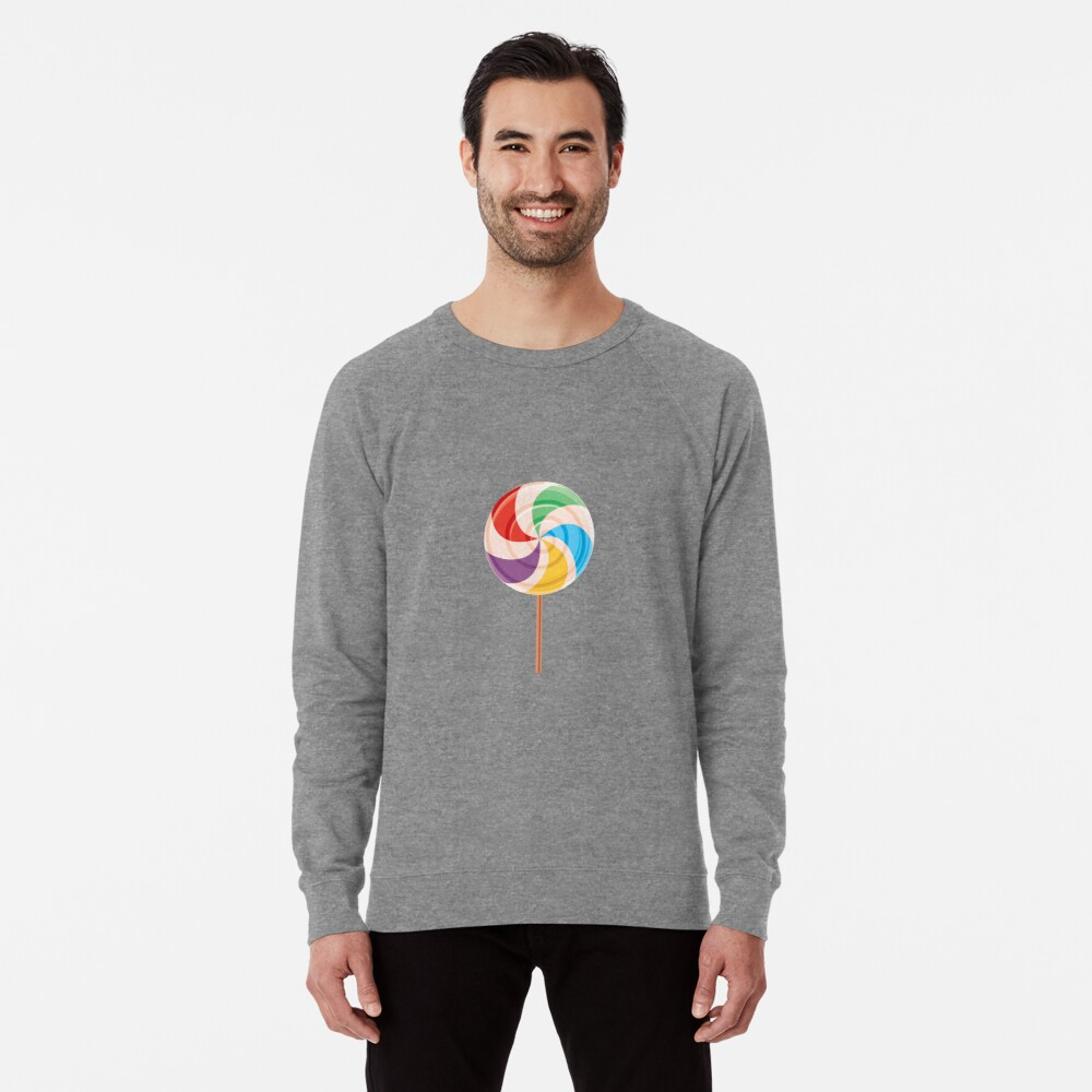 Colorful Lollypop on White Lightweight Sweatshirt