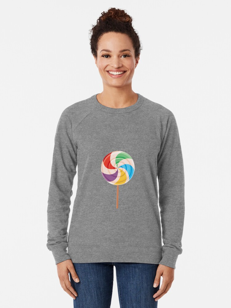 Alternate view of Colorful Lollypop on White Lightweight Sweatshirt