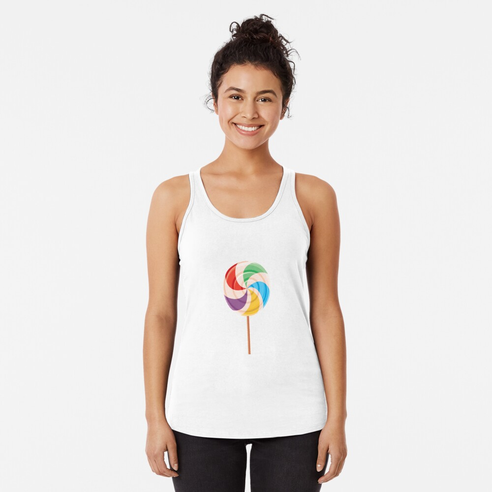 Colorful Lollypop on White Racerback Tank Top