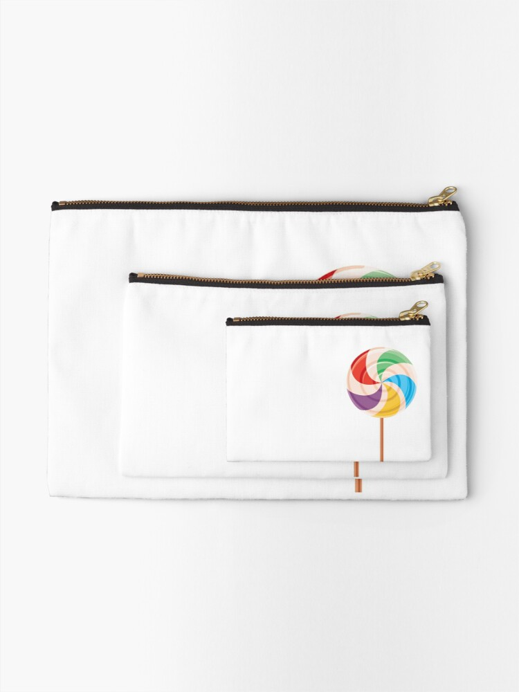 Alternate view of Colorful Lollypop on White Zipper Pouch