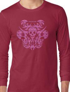 skull tattoo pink Long Sleeve T-Shirt